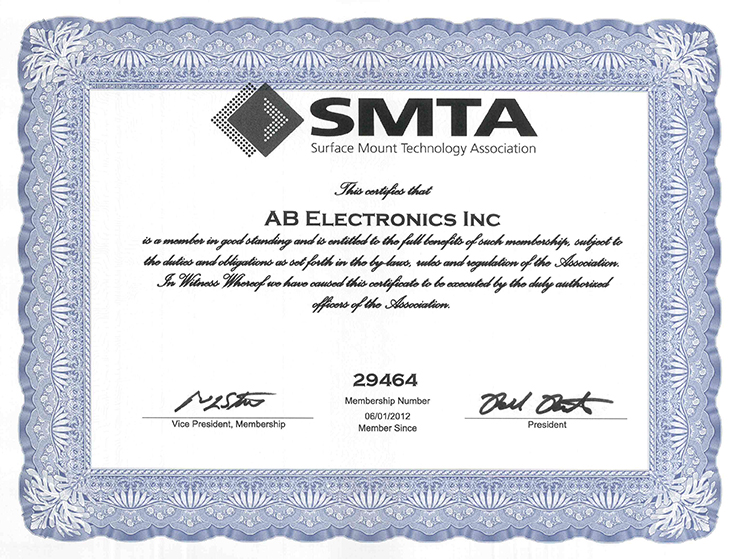 SMTA Certification - AB Electronics, Inc.